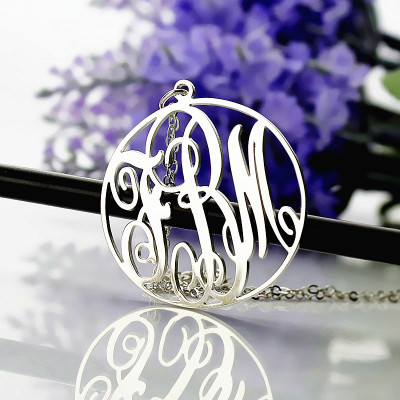 Personalised 18ct White Gold Plated Vine Font Circle Initial Monogram Necklace - The Name Jewellery™