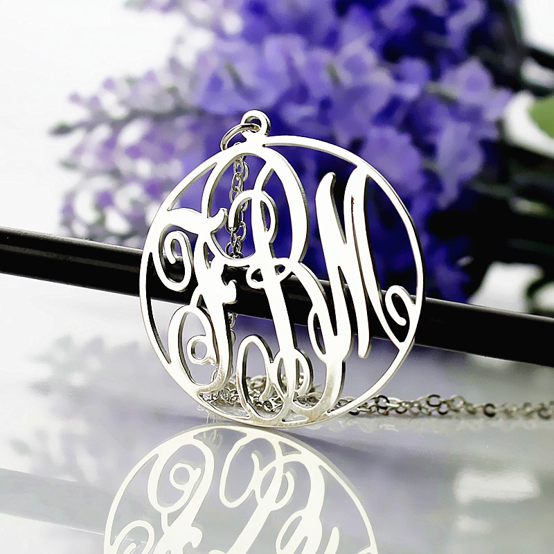 e29333a0af4bc Personalised White Gold Plated Vine Font Circle Initial Monogram ...