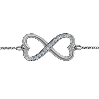 Personalised Double Heart Infinity Bracelet with Accents - The Name Jewellery™