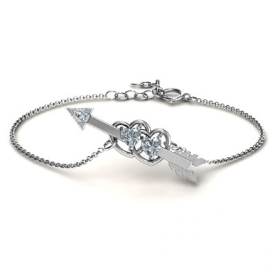 Double Heart with Arrow and Two Heart Stones Promise Bracelet - The Name Jewellery™
