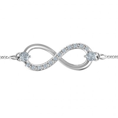 Personalised Double Stone Infinity Accent Bracelet - The Name Jewellery™