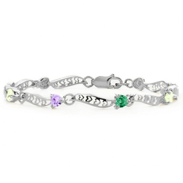 Personalised Embedded Hearts 1-8 Stones Bracelet - The Name Jewellery™
