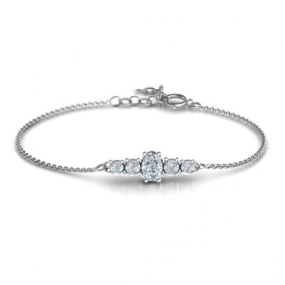 Oval Centre with 4 Side Round Stones Bracelet - The Name Jewellery™