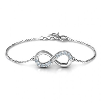 Sterling Silver Birthstone Accent Infinity Bracelet - The Name Jewellery™