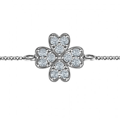 Sterling Silver Four Leaf Heart Clover Bracelet - The Name Jewellery™