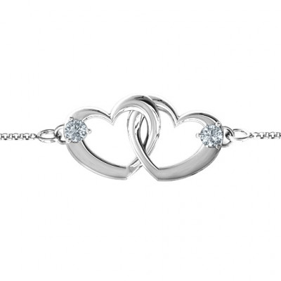 Sterling Silver Interlocking Heart Promise Bracelet with Two Stones - The Name Jewellery™