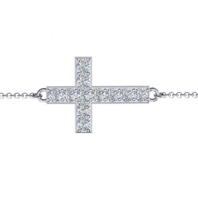 Sterling Silver Shimmering Cross Bracelet With Cubic Zirconia Accent Stones - The Name Jewellery™