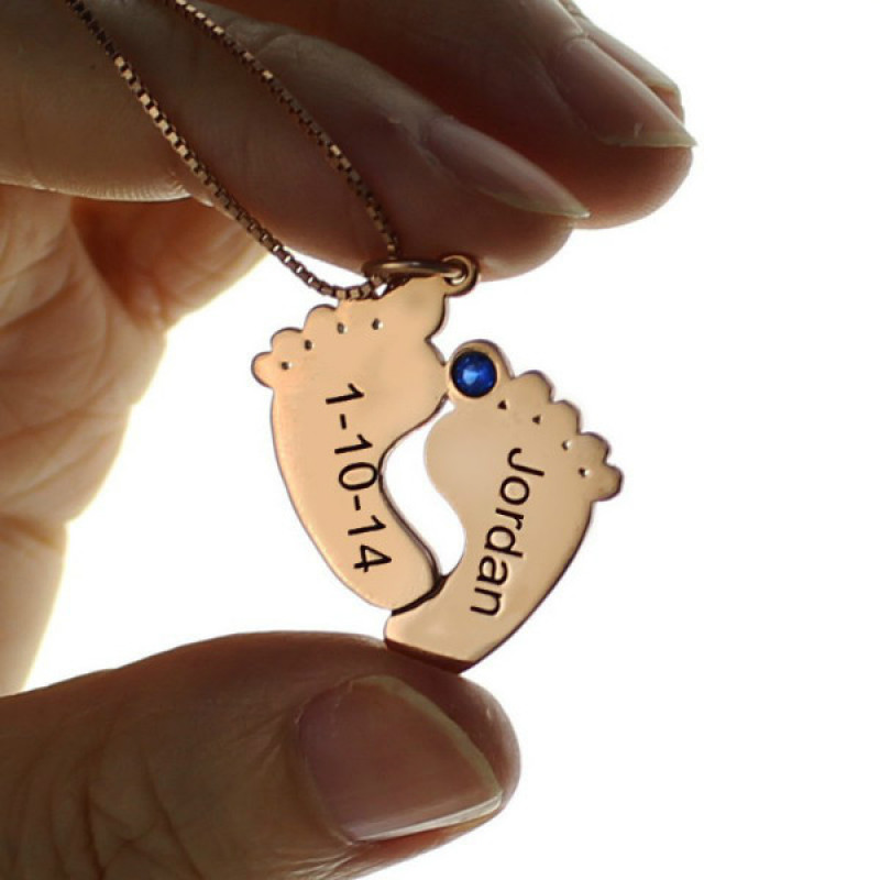 Engraved Baby Feet Imprint Necklace With Date Name Rose
