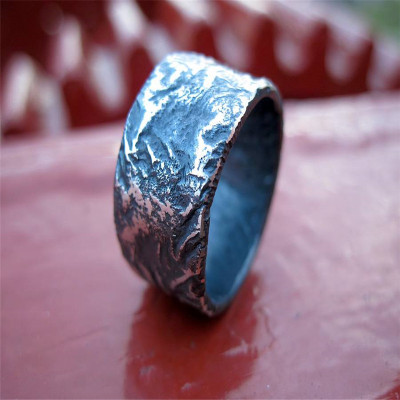 Sterling Silver Rocky Outcrop Broad Ring - The Name Jewellery™