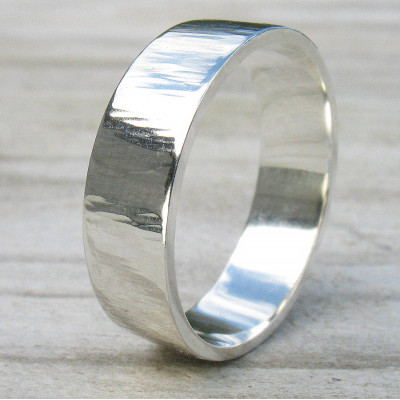 Hammered Silver Ring With Tree Bark Finish - The Name Jewellery™