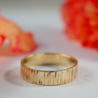 Bark Effect Rings In 18ct Yellow Gold - The Name Jewellery™