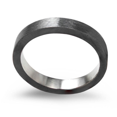 Black Sterling Silver Ring, 3mm Flat Band Oxidised - The Name Jewellery™