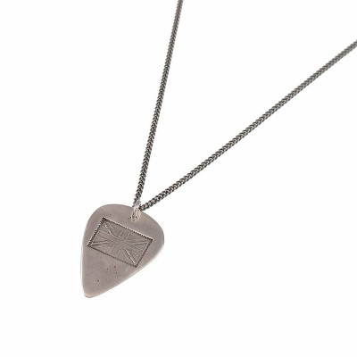 British Flag Stamp Silver Plectrum Necklace - The Name Jewellery™