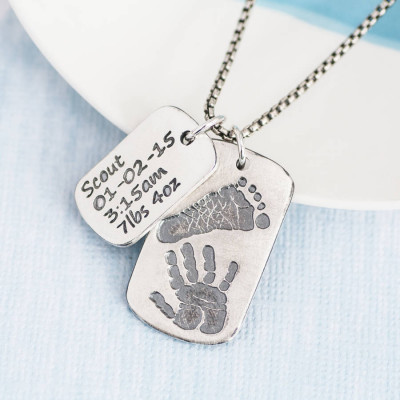 Dog Tag With Baby Prints And Birth Info Necklace - Two Pendants - The Name Jewellery™