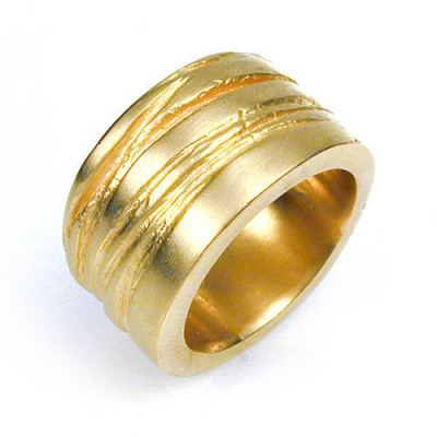 Wide Silver Texture Bound Ring In 18ct Gold Plated - The Name Jewellery™