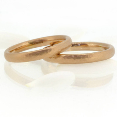 Hammered Comfort Fit Wedding Ring, 18ct Gold - The Name Jewellery™