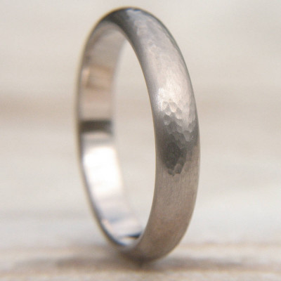 Hammered Wedding Ring In 18ct White Gold - The Name Jewellery™