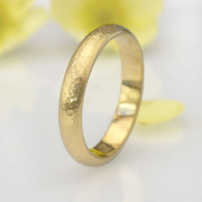 Hammered Ring In 18ct Yellow Or Rose Gold - The Name Jewellery™
