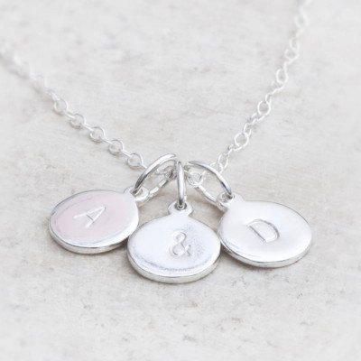 Hand Stamped Silver Personalised Charm Necklace - The Name Jewellery™
