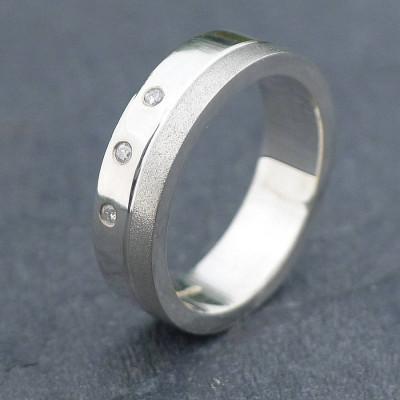 18ct Gold Handmade Mens Chunky Diamond Ring - The Name Jewellery™