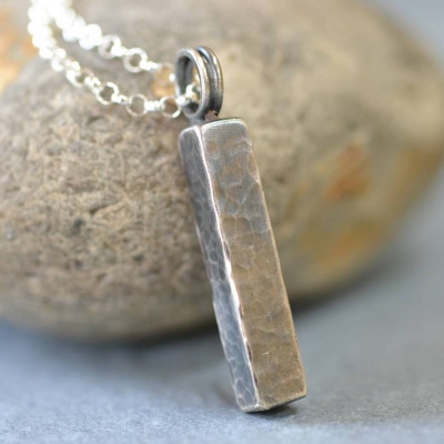 Handmade Blacksmiths Silver Hammered Block Necklace - The Name Jewellery™
