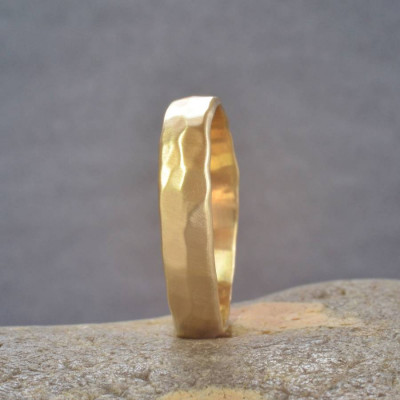 18ct  Gold Handmade Hammered Wedding Ring - The Name Jewellery™