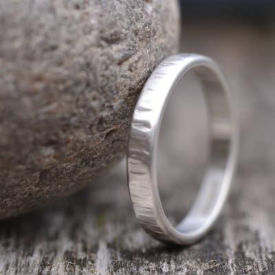 Handmade Silver Rippled Wedding Ring - The Name Jewellery™
