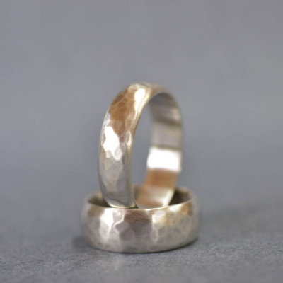 Handmade Silver Wedding Ring With Hammered Finish - The Name Jewellery™