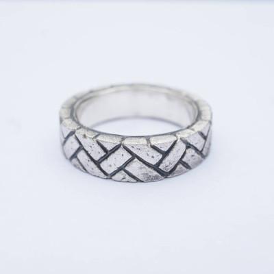 Herringbone Brick Silver Ring - The Name Jewellery™