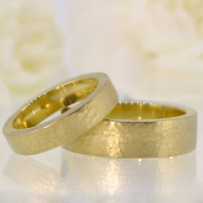 His And Hers Hammered Wedding Ring 18ct Gold Set - The Name Jewellery™