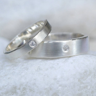 His And Hers Silver Wedding Rings - The Name Jewellery™
