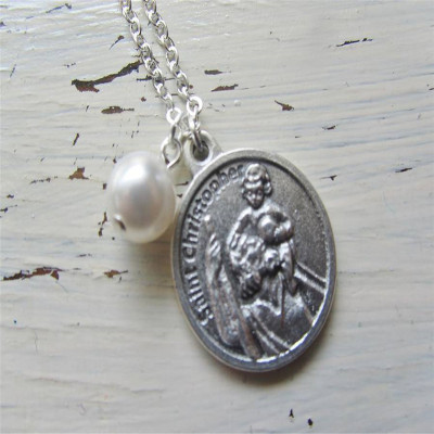 Large St Christopher Charm Necklace - The Name Jewellery™
