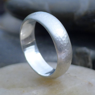 Mens Hammered Sterling Silver Ring - The Name Jewellery™