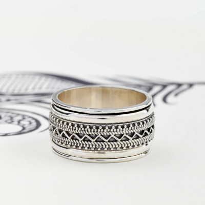 Mens Chunky Tribal Spinning Ring - The Name Jewellery™