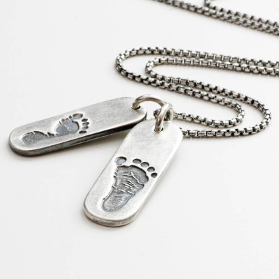 Mens Double Footprint Tag Necklace - The Name Jewellery™