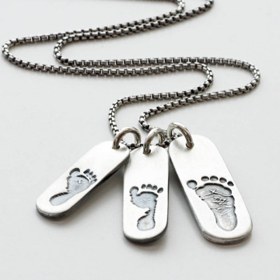 Mens Footprint Trio Tag Necklace - The Name Jewellery™
