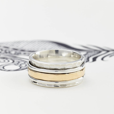 Mens Karma Bronze And Silver Spinning Ring - The Name Jewellery™
