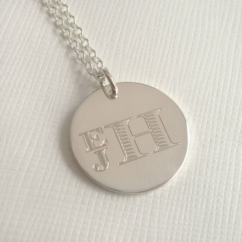 mens engraved monogram stacked necklace