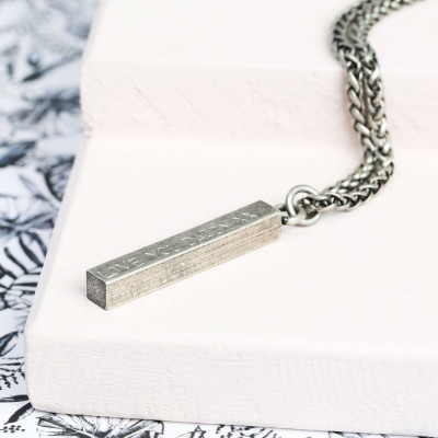 Mens Personalised Metal Bar Necklace - The Name Jewellery™
