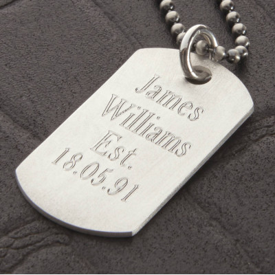 Personalised Sterling Silver Karma Dog Tag Necklace - The Name Jewellery™