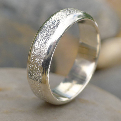 Mens Silver Ring With Concrete Texture - The Name Jewellery™