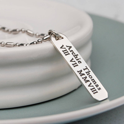 Mens Personalised Silver Vertical Bar Necklace - The Name Jewellery™