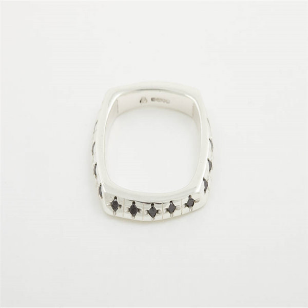 Men Square 18ct Gold Ring With Diamonds - The Name Jewellery™