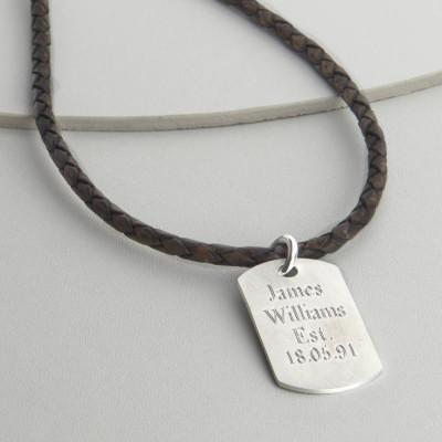 Personalised Polished Sterling Silver Dog Tag Necklace - The Name Jewellery™