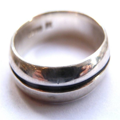 Mens Silver Oxidized Band Ring - The Name Jewellery™