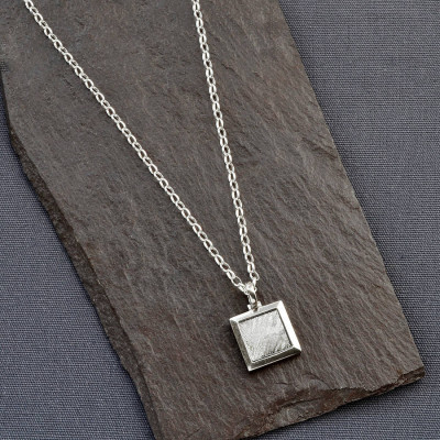 Meteorite And Silver Square Necklace - The Name Jewellery™