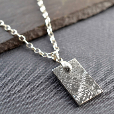 Meteorite And Silver Tag Necklace - The Name Jewellery™