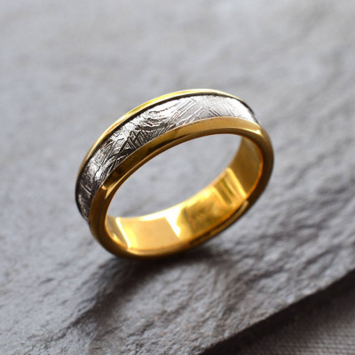 Meteorite Inlaid Gold Plated Ring - The Name Jewellery™