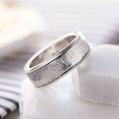 Meteorite Inlaid Silver Ring - The Name Jewellery™