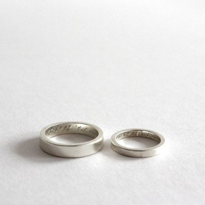 Pair Of Rings, Personalised Siver Bands - The Name Jewellery™